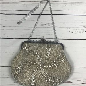 Silver vintage beaded purse 70's 80's silver bag